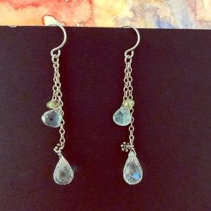 Genuine Quartz Tear Drop Gemstones Earrings